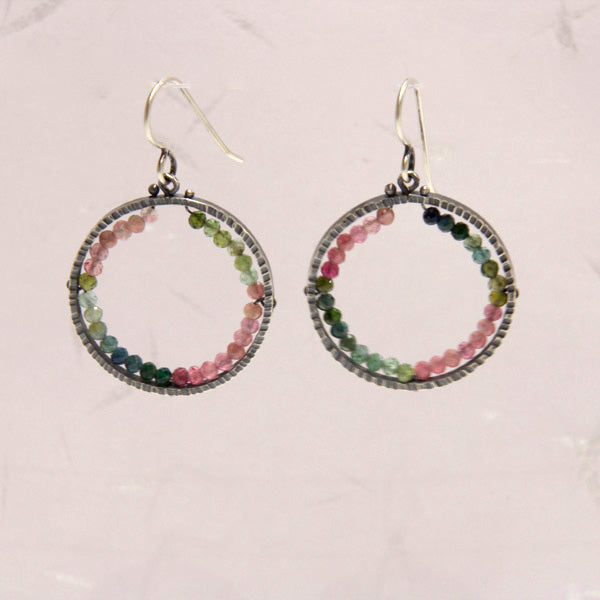 Medium Circle Geode Earrings with Watermelon Tourmaline