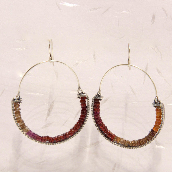 Hinged Geode Earrings with Garnets