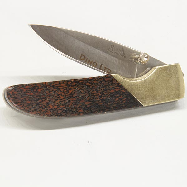 Liner Lock Knife with Clip - Wooly Mammoth Bone