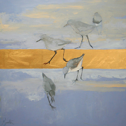 painting of shorebirds with goldleaf