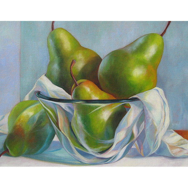 Pears in Glass Bowl
