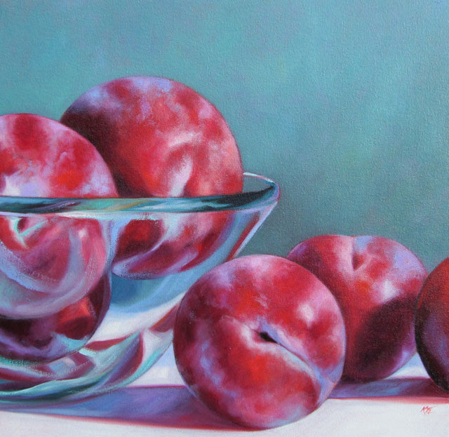 Plums in Glass Bowl