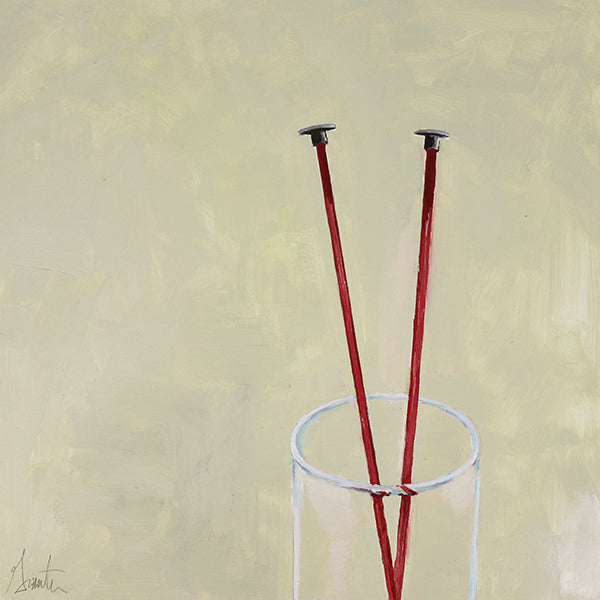 painting of red knitting needles in a glass