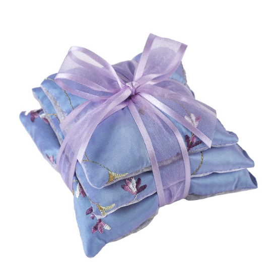 Square Lavender Sachet Trio in Embroidered Silk