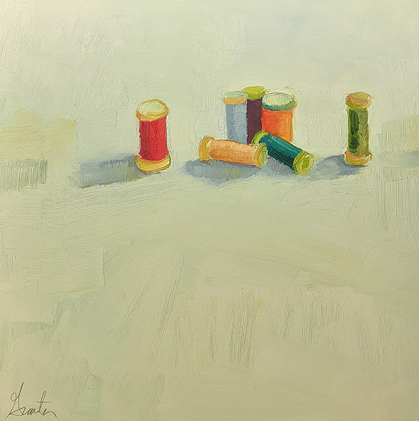 painting of spools of thread