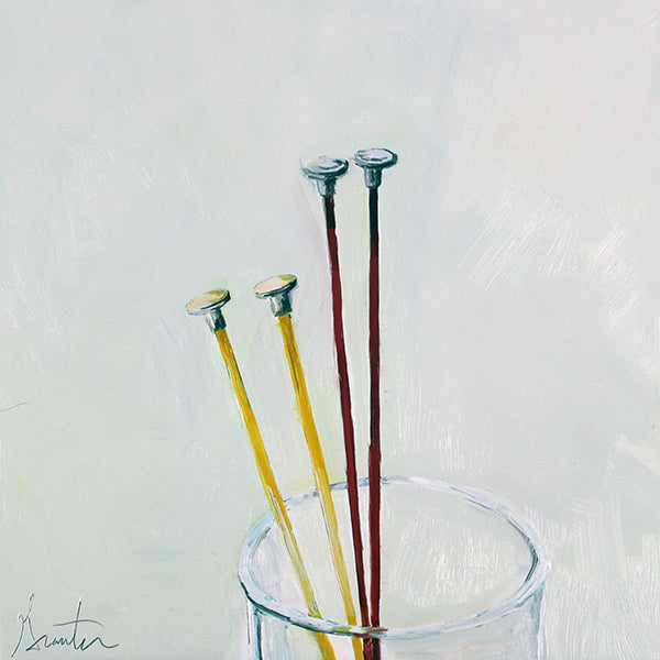 Painting of two pairs of knitting needles in a glass