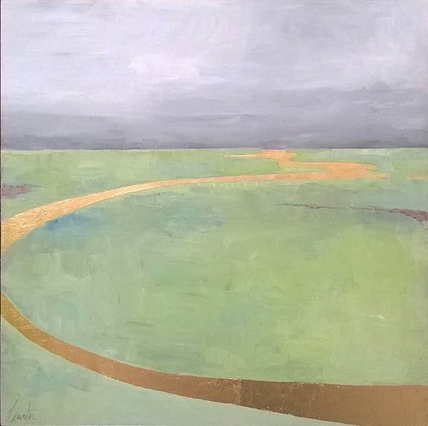 painting of salt marsh with goldleaf ribbon of reflected sun