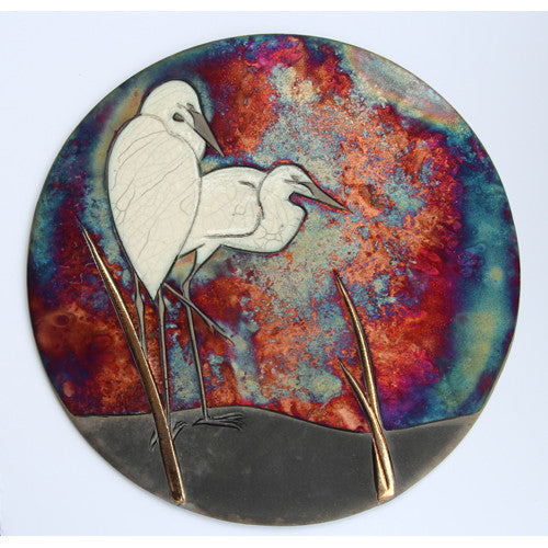 Two Egrets - Raku Wall Plaque
