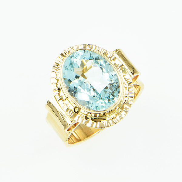 Flower-cut Aquamarine Ring