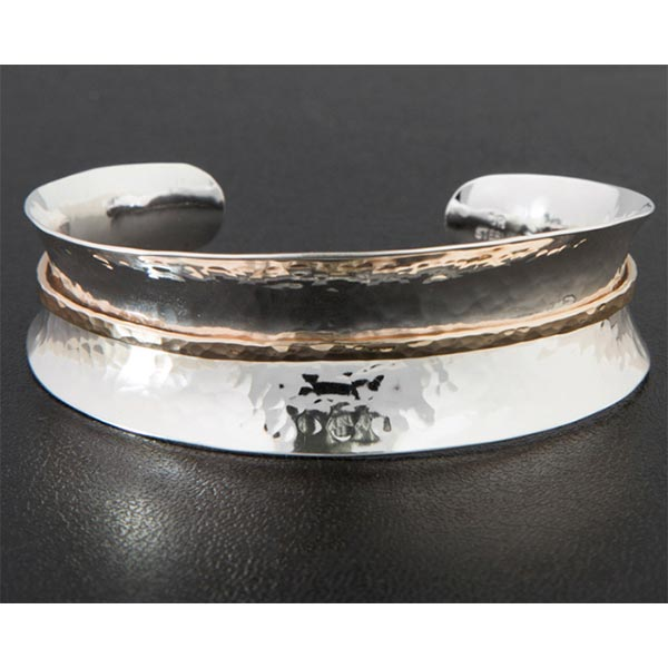 Sterling and Gold Fill Waistband Cuff Bracelet