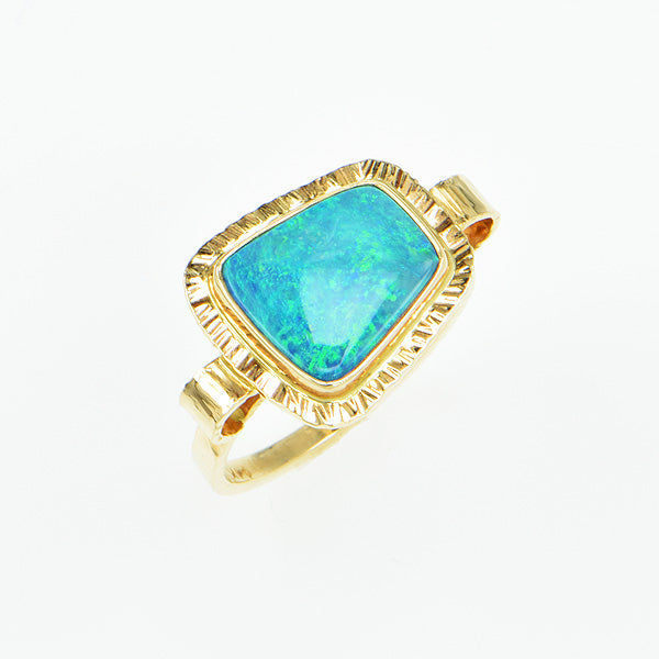 Black Opal Doublet Ring