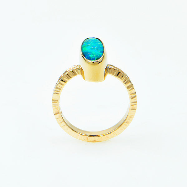 Gem Black Opal Doublet Ring