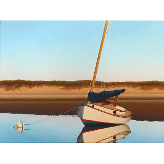 Catboat in the Shallows - lithograph