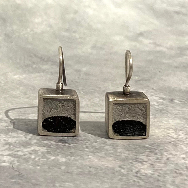 Small Square Drop Earrings with Grout and Quartz