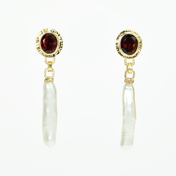 Ceylon Garnet & Freshwater Stick Pearl Earrings