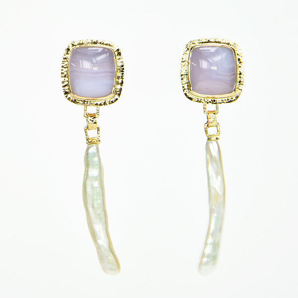 Holly Blue Chalcedony & Freshwater Pearl Earrings