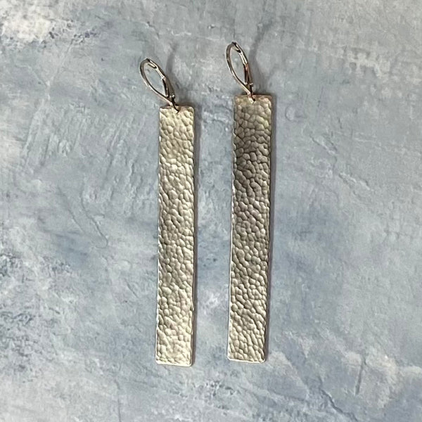 Hammered Rectangle Vermeil Earrings