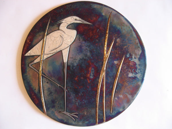 Egret I - Raku Wall plaque