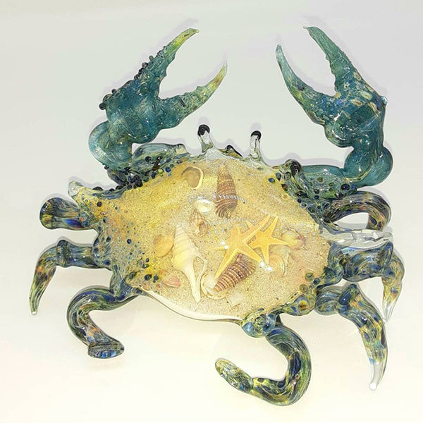 Blown Glass Crab - Blue