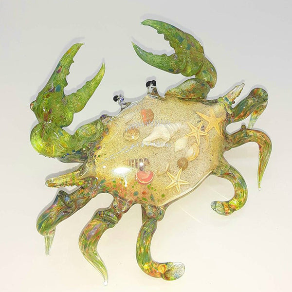 Blown Glass Crab - Green