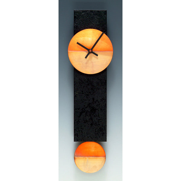 Narrow Pendulum Clock - Black & Copper