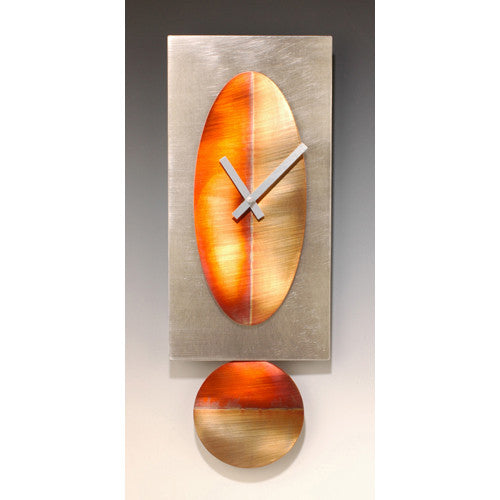 Steel Pendulum Clock/Copper Oval