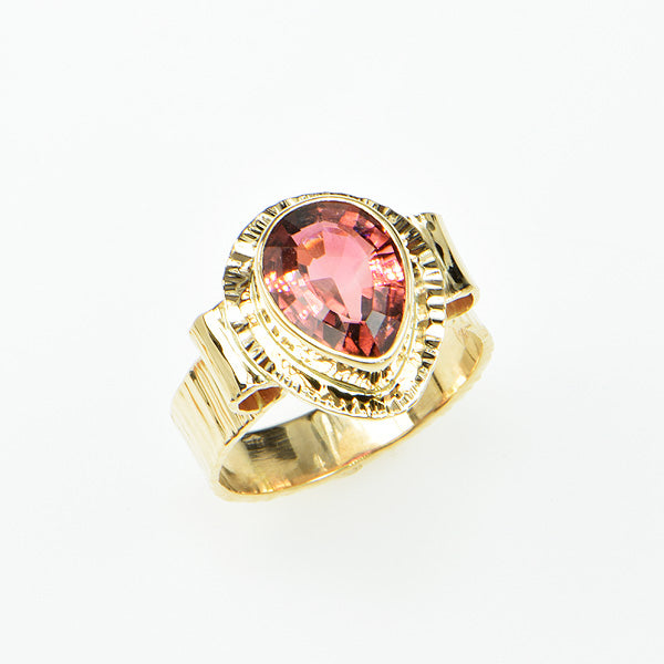 Peach Pink Tourmaline Ring