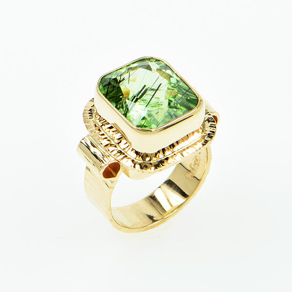 Tourmaline in Peridot  Ring