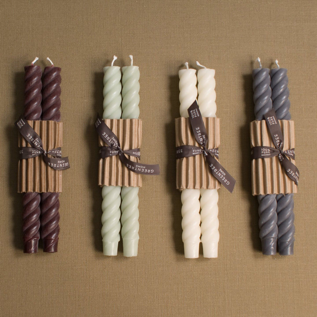 "10"" Rope Beeswax Candle Pair (more colors)"