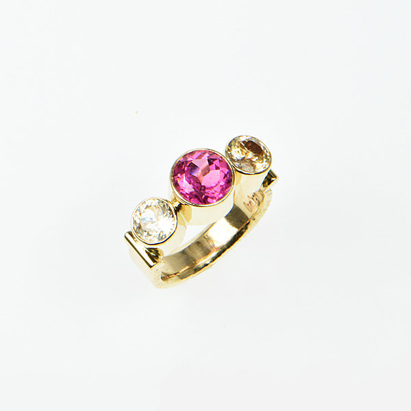 Rubellite Tourmaline and Peach Ceylon Sapphire Ring