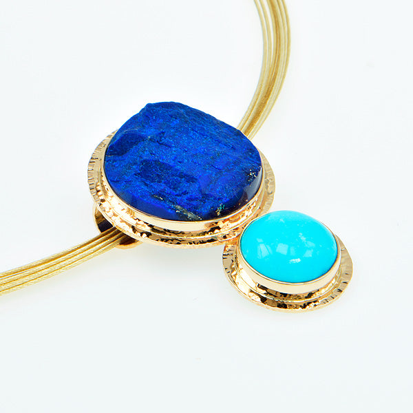 Sleeping Beauty Turquoise & Rough Lapis Pendant