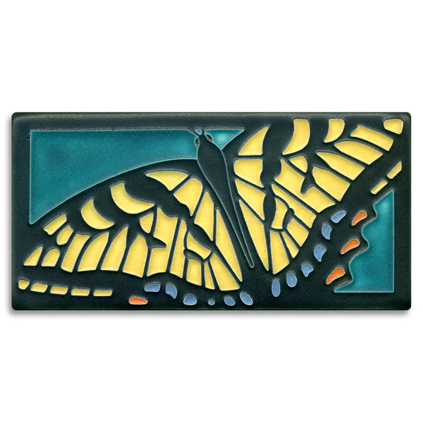 Swallowtail on turquoise tile