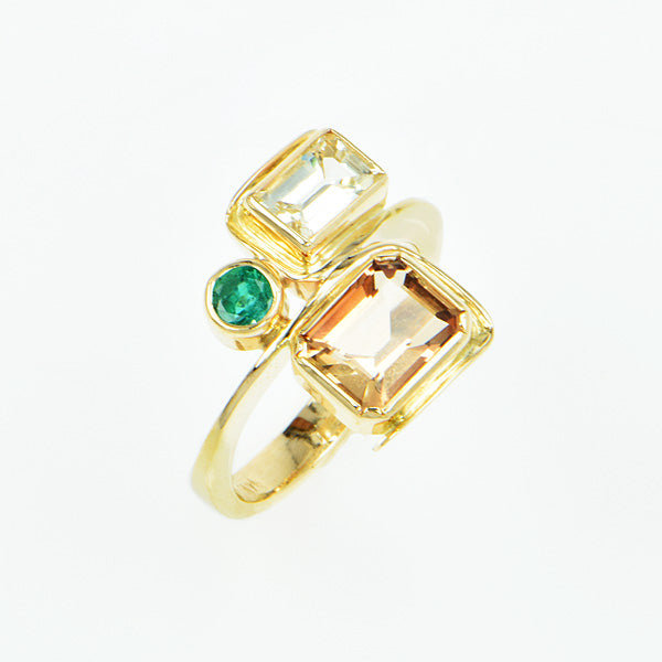 Imperial Topaz, Emerald and Yellow Sapphire Ring