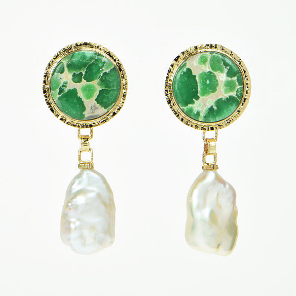 Lucin Variscite & Freshwater Pearl Earrings