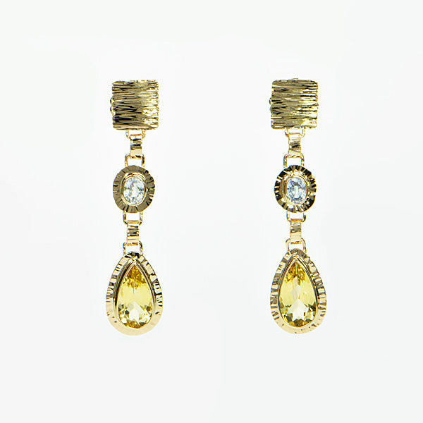 Yellow Beryl & White Ceylon Sapphire Earrings