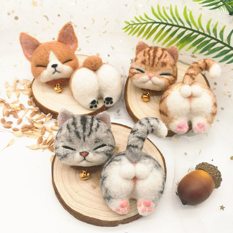 Cute Animals Felting Kit Keychain/ Brooch, 2.0'' - American Shorthair, Orange Cat, Corgi