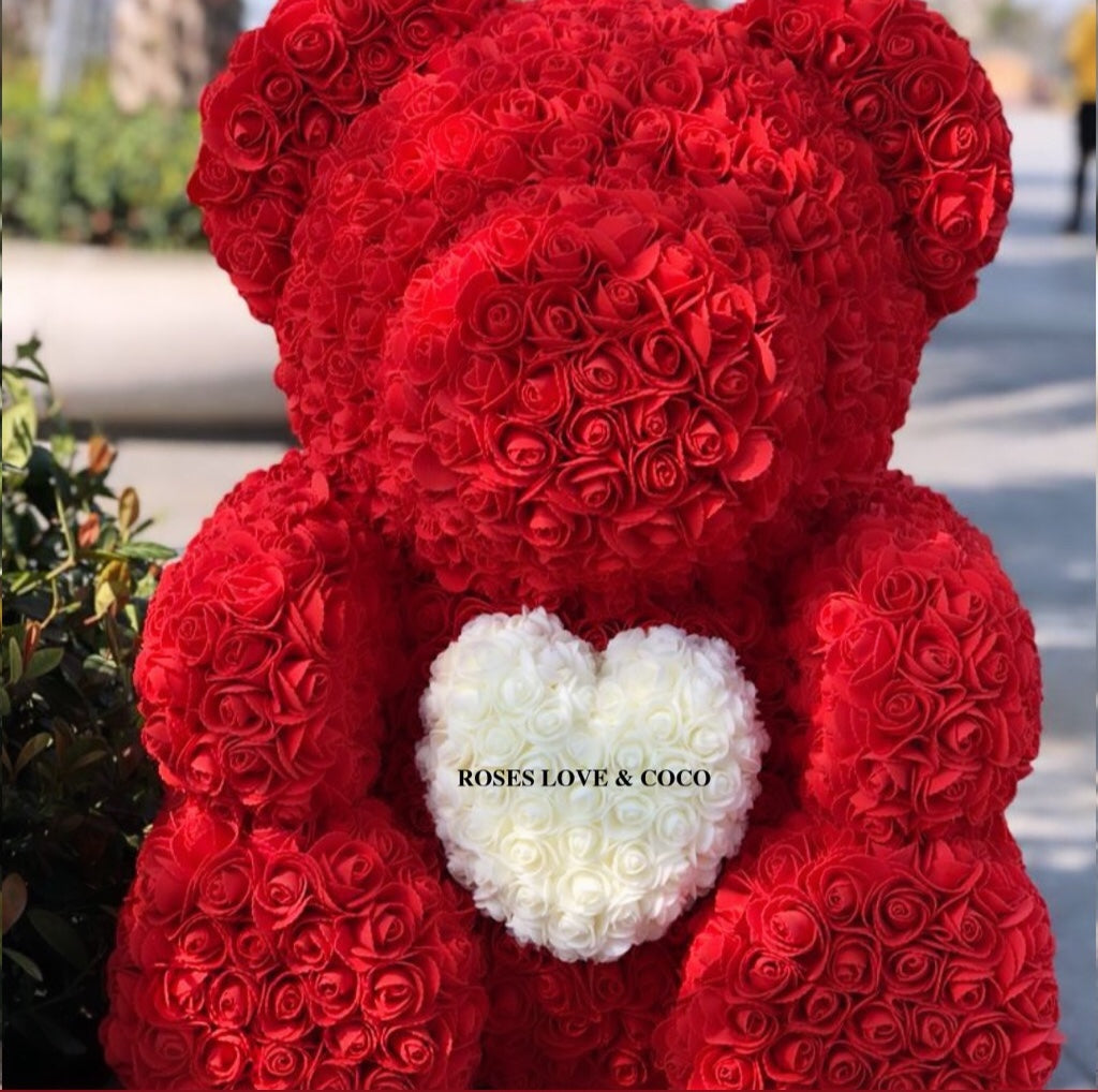 70cm Luxury Rose Bears with Heart