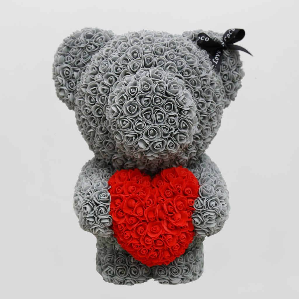 60cm Luxury Rose Bear with Heart