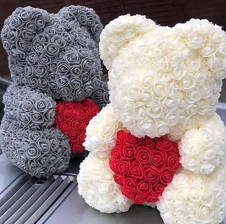 40cm Luxury Rose Bear with Heart