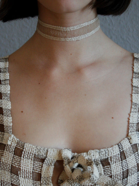 Paper and Steel Collar - White and Beige