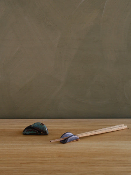 Handbuilt Ceramic Chopstick Rest - Blue