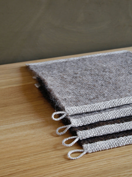 Handwoven Wool Mat - Natural