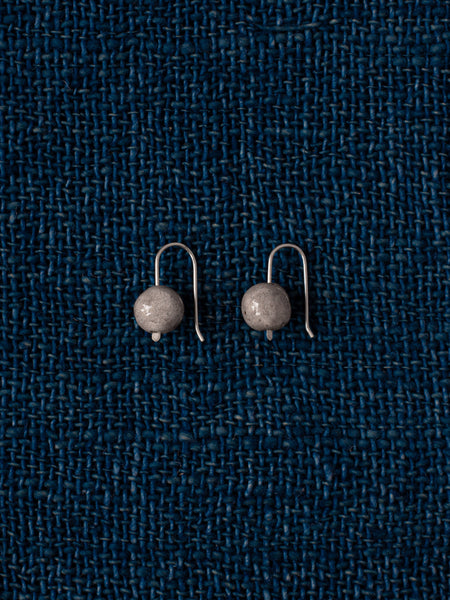 Raku Drop Earrings - Grey (small)