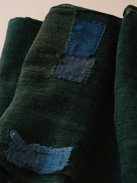Muted Green Patched Hemp Noren Curtain