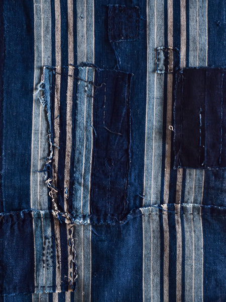 Antique Japanese Textile - Indigo Stripes