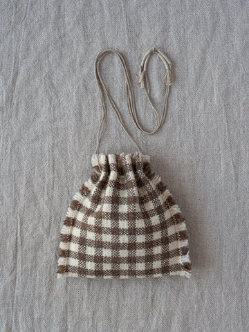 Drawstring Bag - Brown/Off White Checks