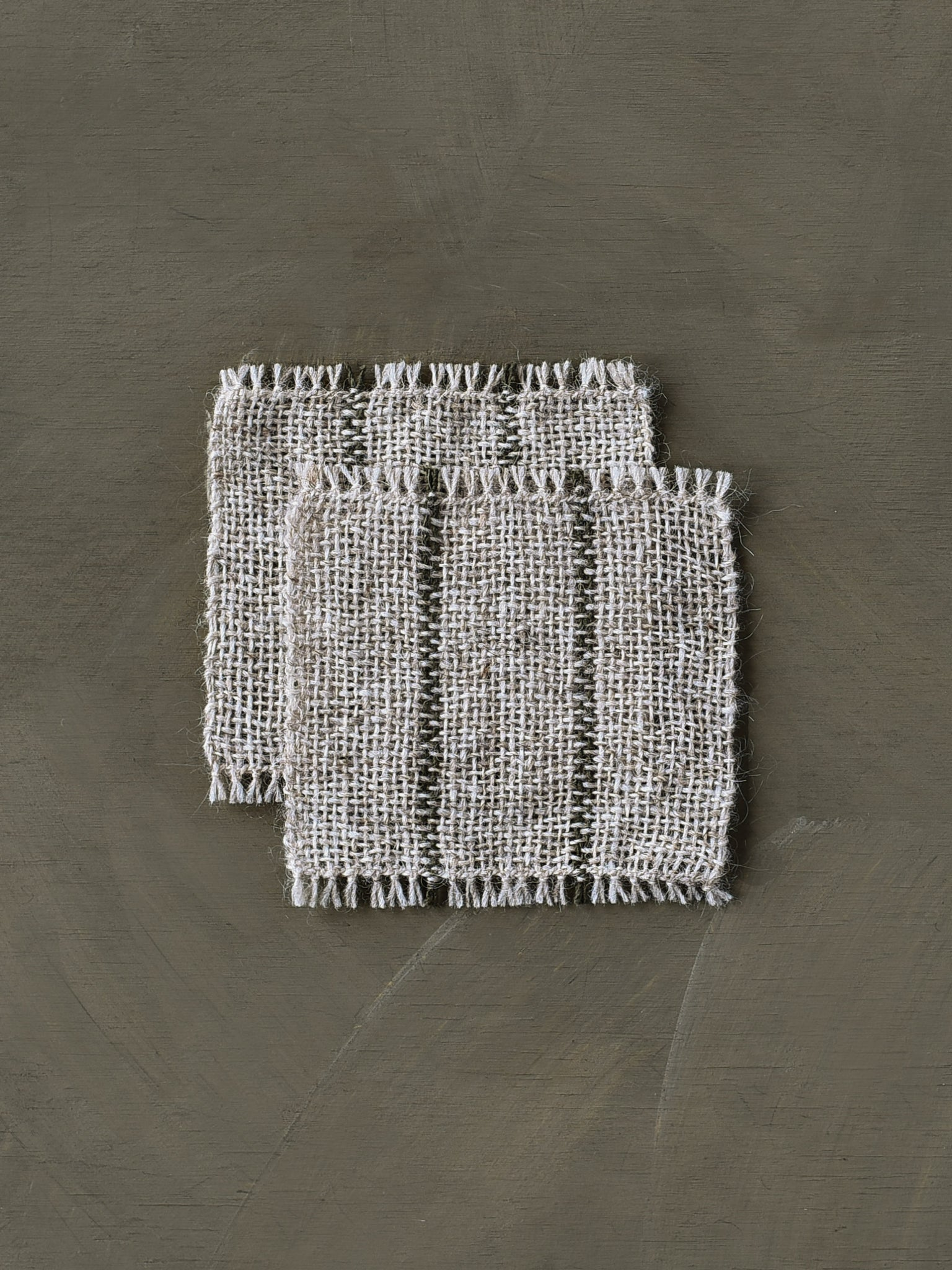 Handwoven Coasters - Oat/Olive (set of 2)