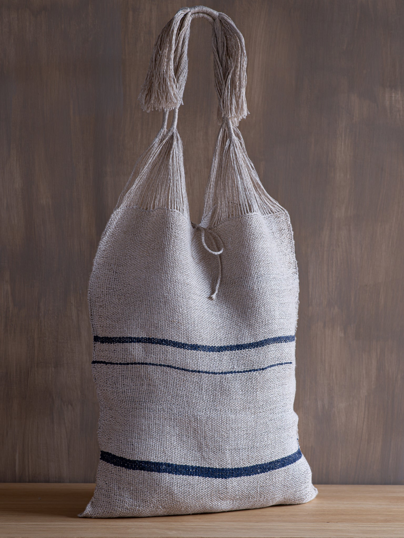 Handwoven Tote Bag - Indigo Stripe