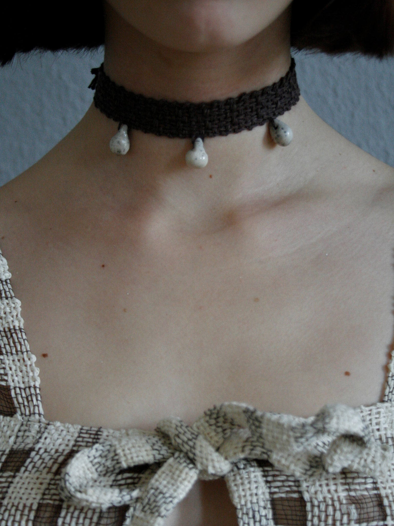 Lace Tri Drop Collar - Umber