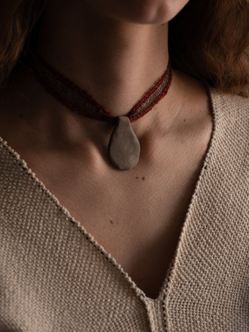 Pendant Collar - Red and Brown
